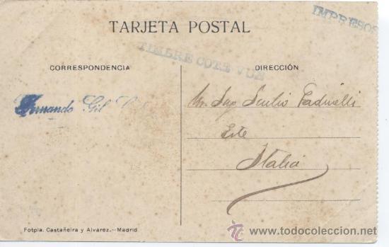 Postales: LOGROÑO - Puente de Piedra. Librería Moderna. Castañeira y Alvarez. Circulada en 1915, - Foto 2 - 32727443