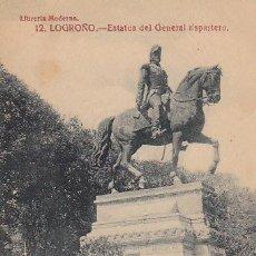 Postales: LOGROÑO, ESTATUA DEL GENERAL ESPARTERO, EDITOR: LIBRERIA MODERNA.... Lote 33404392