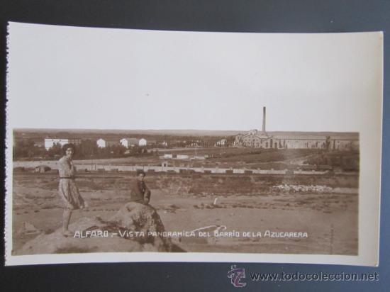 ANTIGUA POSTAL FOTOGRÁFICA DE ALFARO, LA RIOJA. VISTA PANORÁMICA DEL BARRIO DE LA AZUCARERA. (Postales - España - La Rioja Antigua (hasta 1939))