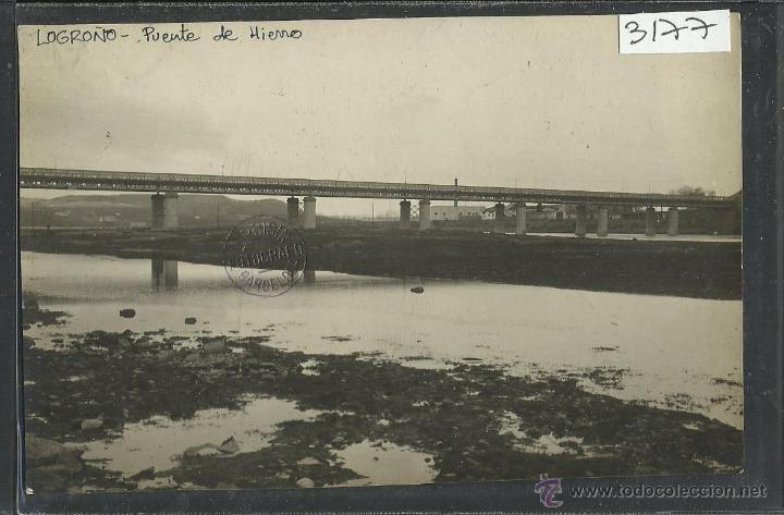 LOGROÑO - PUENTE DE HIERRO - FOTOGRAFICA - SELLO EN SECO ROISIN - (3177) (Postales - España - La Rioja Antigua (hasta 1939))