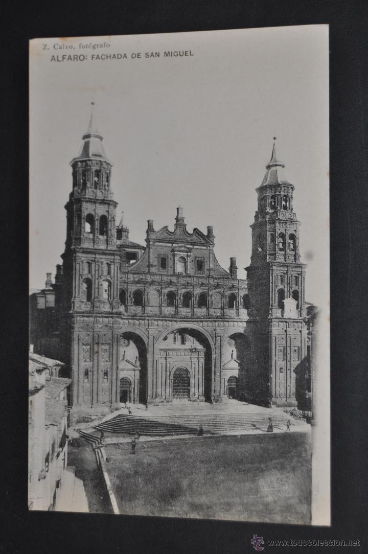 ANTIGUA POSTAL DE ALFARO. LA RIOJA. FACHADA DE SAN MIGUEL. HAUSER Y MENET. SIN CIRCULAR (Postales - España - La Rioja Antigua (hasta 1939))