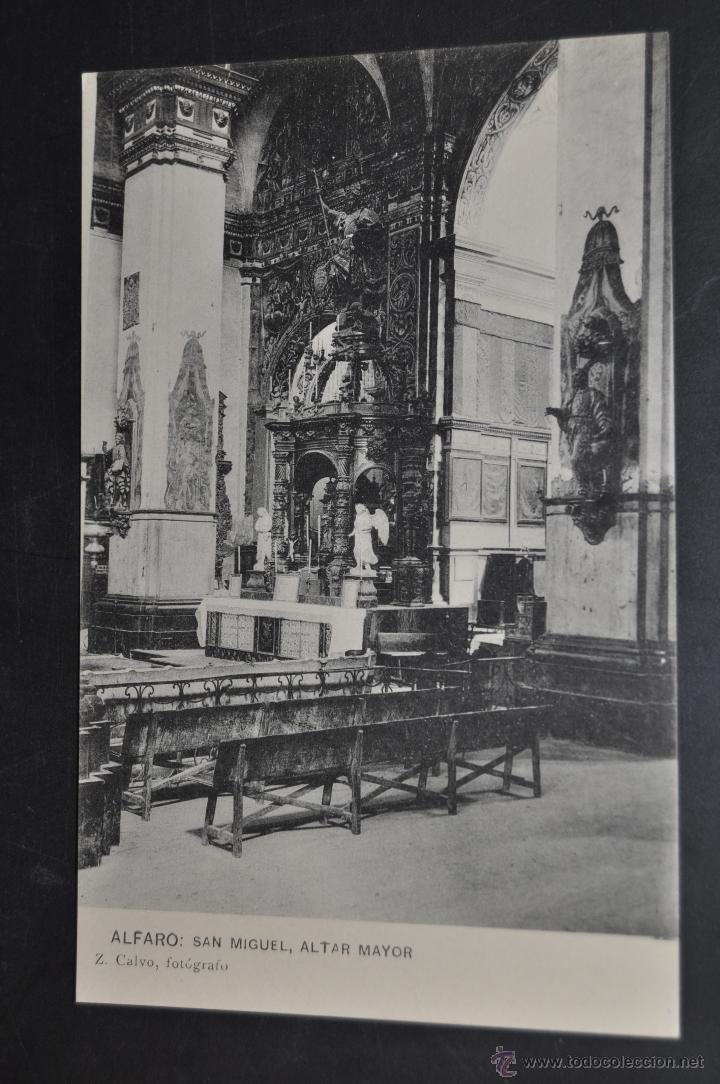 ANTIGUA POSTAL DE ALFARO. LA RIOJA. SAN MIGUEL, ALTAR MAYOR. HAUSER Y MENET. SIN CIRCULAR (Postales - España - La Rioja Antigua (hasta 1939))