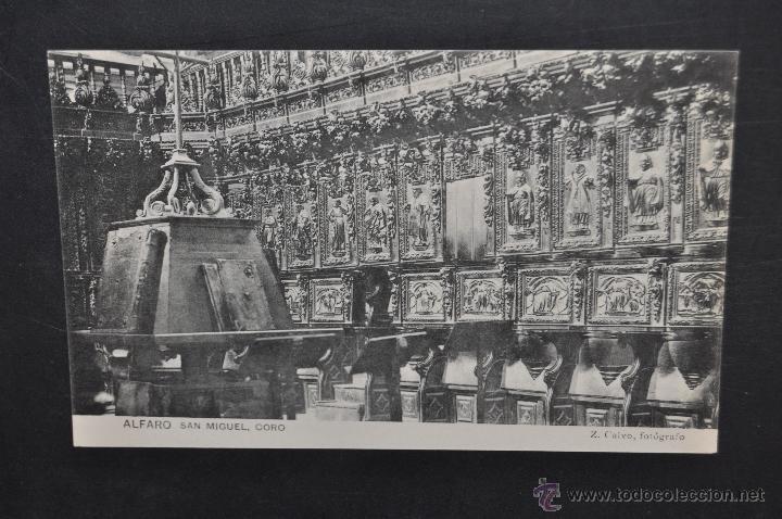 ANTIGUA POSTAL DE ALFARO. LA RIOJA. SAN MIGUEL, CORO. HAUSER Y MENET. SIN CIRCULAR (Postales - España - La Rioja Antigua (hasta 1939))