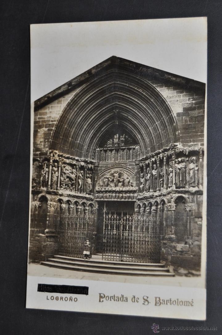 FOTO POSTAL DE LOGROÑO. LA RIOJA. PORTADA DE S. BARTOLOME. SIN CIRCULAR (Postales - España - La Rioja Antigua (hasta 1939))