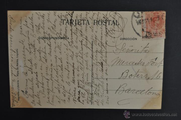 Postales: ANTIGUA POSTAL DE LOGROÑO. LA RIOJA. VISTA GENERAL Y PUENTE DE HIERRO. CIRCULADA - Foto 2 - 43970214