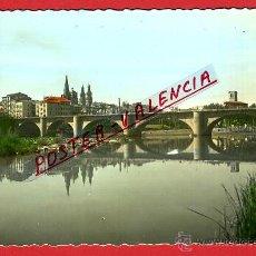 Cartoline: POSTAL LOGROÑO, LA RIOJA, PUENTE DE PIEDRA SOBRE EL EBRO, P97347. Lote 46976609