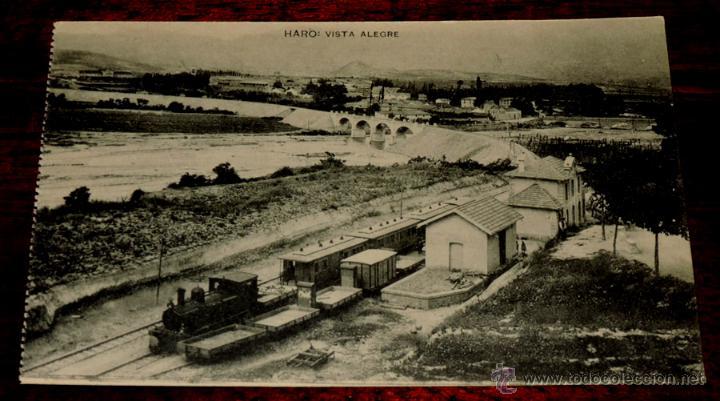 HARO (LA RIOJA) VISTA ALEGRE, ESTACION FERROCARRIL, IMPRENTA Y LIBRERIA DE VIELA E ITURBE, HAUSER Y (Postales - España - La Rioja Antigua (hasta 1939))