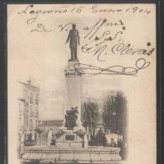 Postales: LOGROÑO 1904 - ESTATUA DE SAGASTA - ENVIADA A LA FAMILIA MILLET - P8205. Lote 49437786