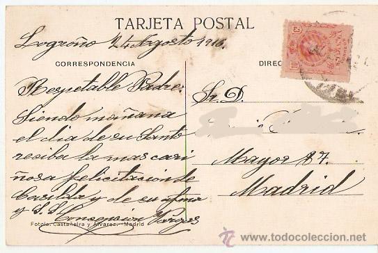 Postales: Logroño. Torres de Redonda. Ed.libreria Moderna.escrita y con sello. 1916. - VELL I BELL - Foto 2 - 52849436
