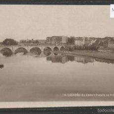 Postales: LOGROÑO - 16 - EL EBRO Y PUENTE DE PIEDRA - FOTOGRAFICA - (43.284). Lote 56829490