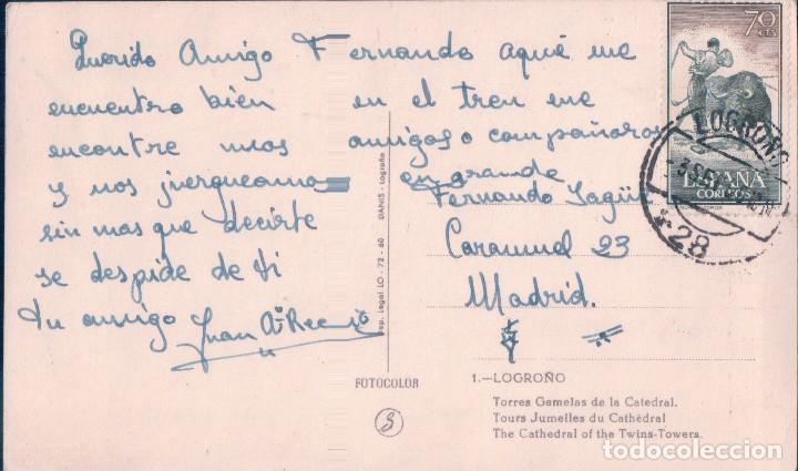 Postales: POSTAL LOGROÑO - TORRES GEMELAS DE LA CATEDRAL - 1 FOTOCOLOR - CIRCULADA - Foto 2 - 71642491