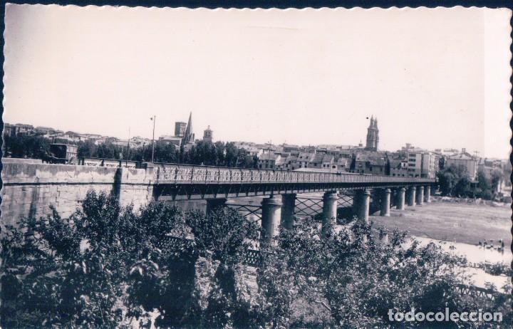 POSTAL LOGROÑO - VISTA GENERAL - 11 DARVI - PUENTE - CARRRO - RIO (Postales - España - La Rioja Antigua (hasta 1939))