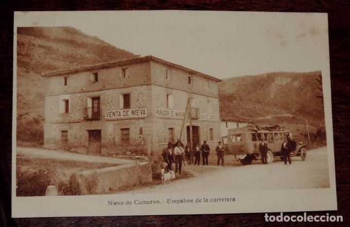 POSTAL DE NIEVA DE CAMEROS, LOGROÑO, EMPALME DE LA CARRETERA, GRAFICAS VILLAROCA, NO CIRCULADA. (Postales - España - La Rioja Antigua (hasta 1939))