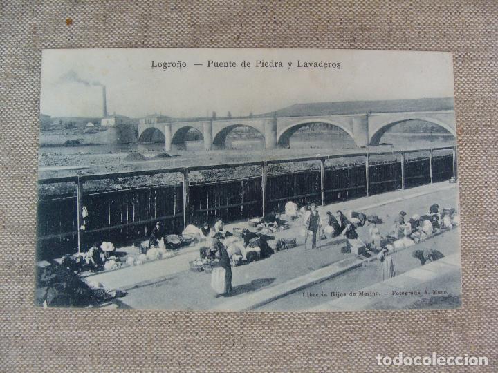 LOGROÑO PUENTE DE PIEDRA Y LAVADEROS. LIBRERÍA HIJOS DE MERINO. FOT. MURO. SIN CIRCULAR (Postales - España - La Rioja Antigua (hasta 1939))