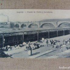 Postales: LOGROÑO PUENTE DE PIEDRA Y LAVADEROS. LIBRERÍA HIJOS DE MERINO. FOT. MURO. SIN CIRCULAR. Lote 90750715