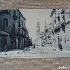 Postales: LOGROÑO AYUNTAMIENTO Y CALLE DEL MERCADO. LIBRERÍA HIJOS DE MERINO. FOT. MURO. SIN CIRCULAR. Lote 90750810