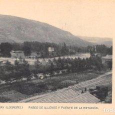 Postales: EZCARAY.- PASEO DE ALLENDE Y PUENTE DE LA ESTACIÓN. Lote 95670995