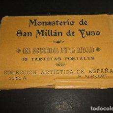 Postales: MONASTERIO DE SAN MILLAN DE YUSO LA RIOJA COL. 10 POSTALES EN SOBRE ORIGINAL SERIE A M. SERVERT. Lote 97661083