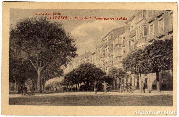 BONITA POSTAL - LOGROÑO - MURO DE D. FRANCISCO DE LA MATA (Postales - España - La Rioja Antigua (hasta 1939))