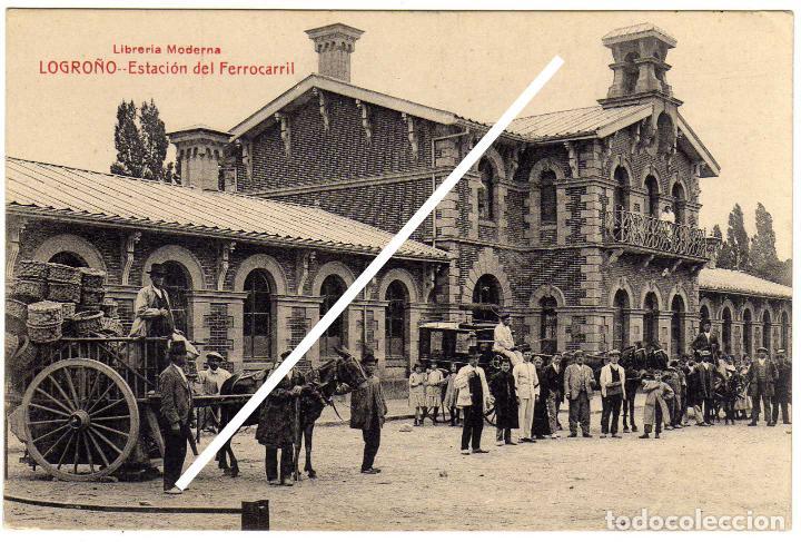 MAGNIFICA POSTAL - LOGROÑO - ESTACION DEL FERROCARRIL - MUY AMBIENTADA - CARRO CON CESTOS (Postales - España - La Rioja Antigua (hasta 1939))