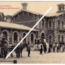 Postales: MAGNIFICA POSTAL - LOGROÑO - ESTACION DEL FERROCARRIL - MUY AMBIENTADA - CARRO CON CESTOS . Lote 97703171
