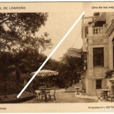 Postales: BONITA POSTAL - GRAND HOTEL DE LOGROÑO - JARDINES DEL HOTEL . Lote 97709719