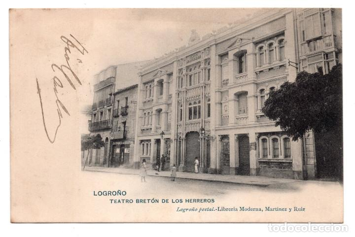 LOGROÑO.- TEATRO BRETÓN DE LOS HERREROS - LIBRERÍA MORENA, MARTÍNEZ Y RUIZ (Postales - España - La Rioja Antigua (hasta 1939))