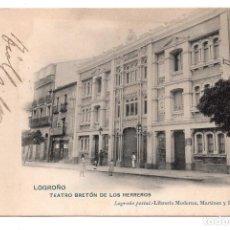 Postales: LOGROÑO - TEATRO BRETÓN DE LOS HERREROS - LIBRERÍA MORENA, MARTÍNEZ Y RUIZ . Lote 99764899