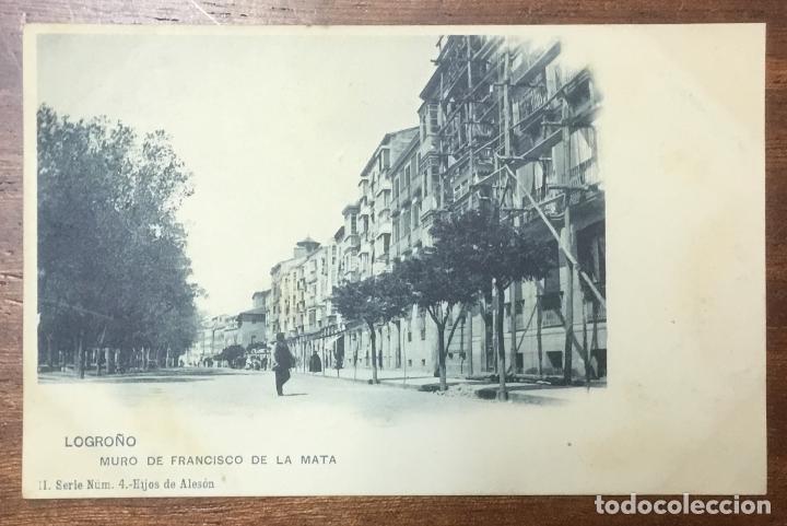LOGROÑO. MURO DE FRANCISCO DE LA MATA. (ED. HIJOS DE ALESON, II SERIE Nº 4) (Postales - España - La Rioja Antigua (hasta 1939))