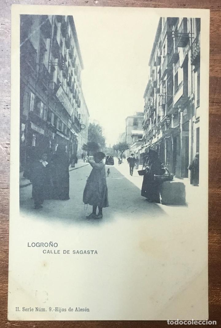 LOGROÑO. CALLE DE SAGASTA. (ED. HIJOS DE ALESON, II SERIE Nº 9) (Postales - España - La Rioja Antigua (hasta 1939))