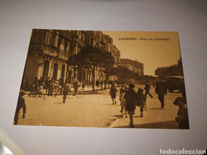 LOGROÑO. MURO DE CERVANTES. SIN CIRCULAR (Postales - España - La Rioja Antigua (hasta 1939))