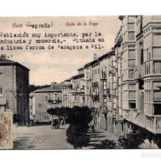 Postales: HARO. LA RIOJA.- CALLE DE LA VEGA. LINEA FERREA ZARAGOZA. BILBAO. Lote 122313599
