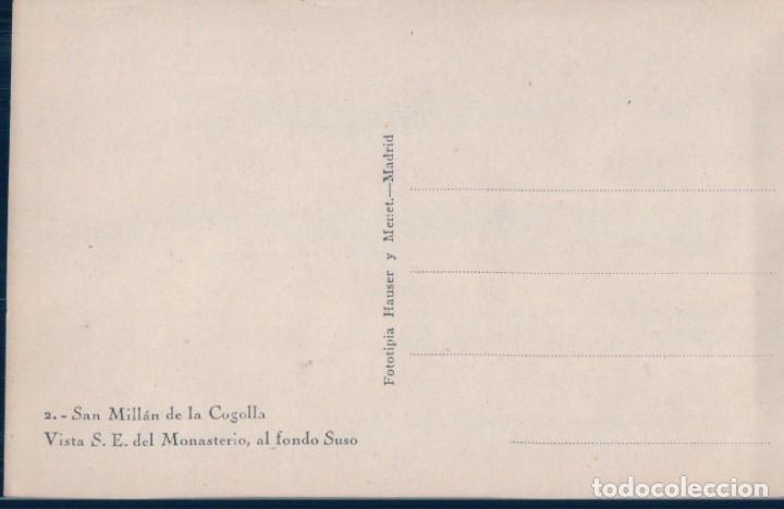 Postales: POSTAL SAN MILLAN DE LA COGOLLA 2 - VISTA S E DEL MONASTERIO - AL FONDO SUSO - HAUSER Y MENET - Foto 2 - 130988888