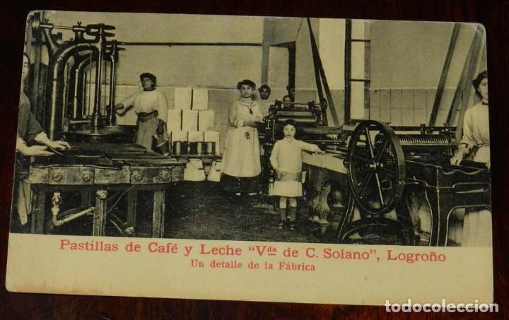 ANTIGUA POSTAL DE LOGROÑO, CON PUBLICIDAD DE PASTILLAS DE CAFE Y LECHE, VIUDA DE SOLANO, LOGROÑO, U (Postales - España - La Rioja Antigua (hasta 1939))