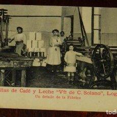 Postales: ANTIGUA POSTAL DE LOGROÑO, CON PUBLICIDAD DE PASTILLAS DE CAFE Y LECHE, VIUDA DE SOLANO, LOGROÑO, U. Lote 132812830
