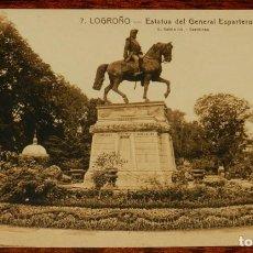 Postales: LOGROÑO (LA RIOJA), ESTATUA DEL GENERAL ESPARTERO, L. ROISIN 7, SIN CIRCULAR. Lote 133555026