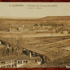 Postales: LOGROÑO (LA RIOJA), PUENTES DE HIERRO Y DE PIEDRA, L. ROISIN 6, SIN CIRCULAR. Lote 133555962