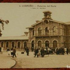 Postales: LOGROÑO (LA RIOJA), ESTACION DEL NORTE, FERROCARRIL, L. ROISIN 5, SIN CIRCULAR. Lote 133556078