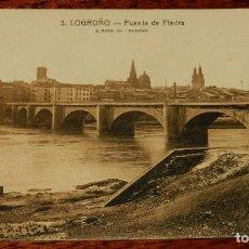 Postales: LOGROÑO (LA RIOJA), PUENTE DE PIEDRA, L. ROISIN 3, SIN CIRCULAR. Lote 133556298