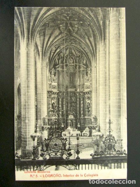 POSTAL LOGROÑO, LA RIOJA. INTERIOR DE LA COLEGIATA. LIBRERÍA MODERNA (Postales - España - La Rioja Antigua (hasta 1939))