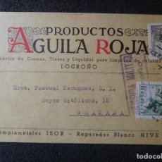 Postales: (JX-181227)TARJETA POSTAL,CENSURA MILITAR LOGROÑO,PRODUCTOS ÁGUILA ROJA 1939. Lote 143058102
