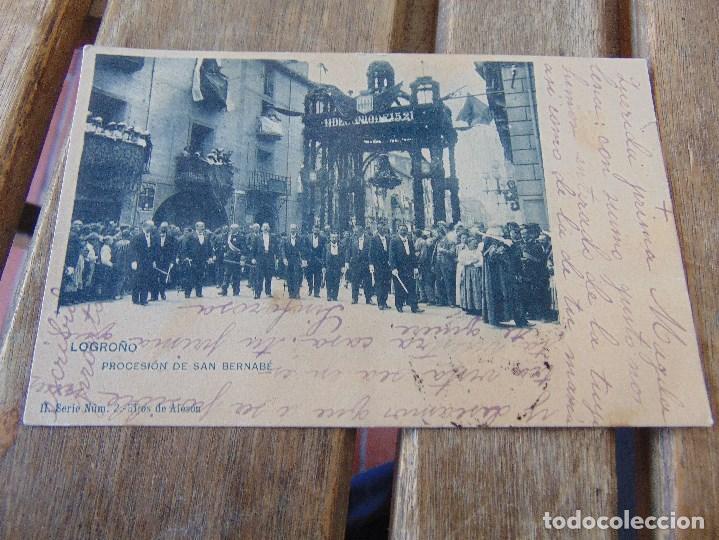 TARJETA POSTAL REVERSO SIN DIVIDIR LOGROÑO PROCESION DE SAN BERNABE (Postales - España - La Rioja Antigua (hasta 1939))