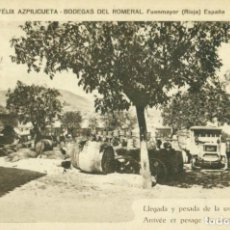 Postales: FUENMAYOR. BODEGAS DEL ROMERAL. FÉLIX AZPILICUETA. LLEGADA Y PESADA DE LA UVA. HACIA 1910. RARA.. Lote 146288422