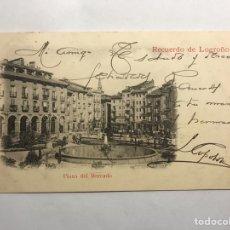 Postales: LOGROÑO. POSTAL RECUERDOS DE LOGROÑO. PLAZA DEL MERCADO. EDITA: UNIÓN POSTAL UNIVERSAL (H.1908?(. Lote 147375421