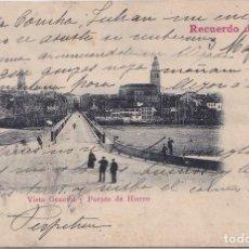 Postales: BALNEARIO DE LOGROÑO (LA RIOJA) - VISTA GENERAL Y PUENTE DE HIERRO. Lote 154526210