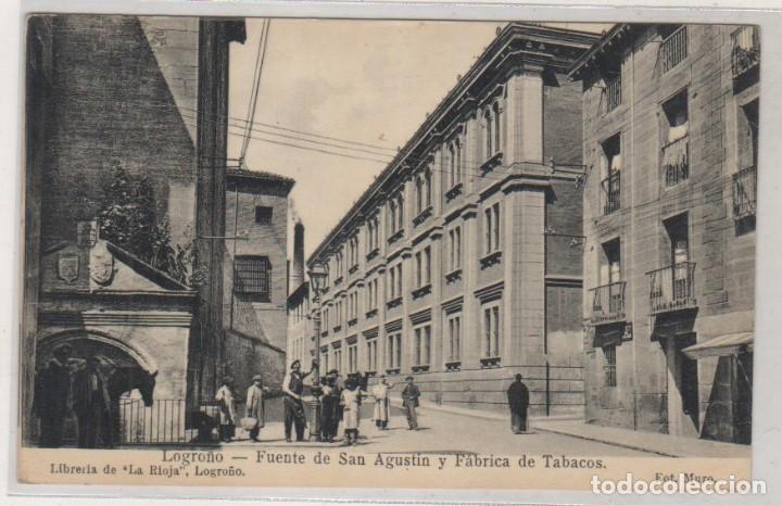 LOGROÑO FUENTE DE SAN AGUSTIN Y FÁBRICA DE TABACOS. LIBRERÍA DE LA RIOJA. FOT MURO. (Postales - España - La Rioja Antigua (hasta 1939))