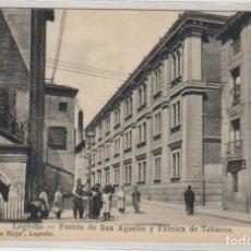 Postales: LOGROÑO FUENTE DE SAN AGUSTIN Y FÁBRICA DE TABACOS. LIBRERÍA DE LA RIOJA. FOT MURO. . Lote 155642990