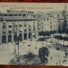 Postales: ANTIGUA POSTAL DE LOGROÑO, PLAZA DE LA CONSTITUCION N. 24, LIBRERIA MODERNA FOTO GILDO, NO CIRCULADA. Lote 156801202