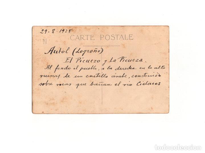 Postales: AUTOL.(LA RIOJA).- EL PICUELO Y LA PICUEZA, AL FONDO PUEBLO. POSTAL FOTOGRÁFICA. - Foto 2 - 164800562