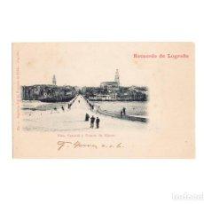 Postales: LOGROÑO.(LA RIOJA).- VISTA GENERAL Y PUENTE DE HIERRO. RECUERDO DE LOGROÑO.. Lote 164825906